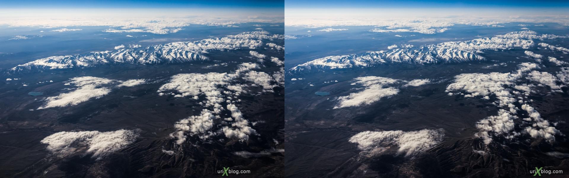 2013, штат Невада, Скалистые горы, США, горы, облака, снег, панорама, самолёт, чёрно-белое, чб, 3D, перекрёстные стереопары, стерео, стереопара, стереопары