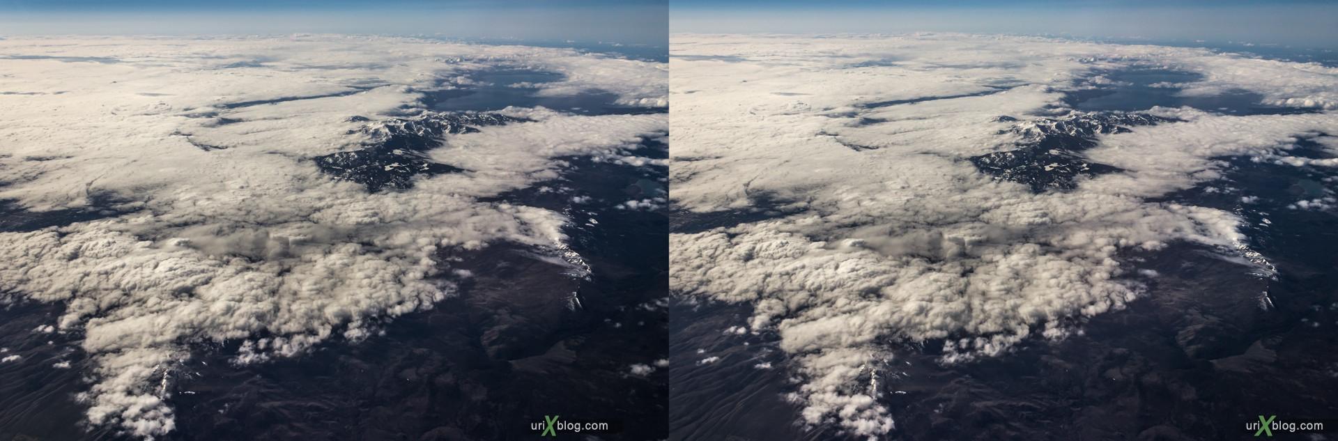 2013, штат Калифорния, Скалистые горы, США, горы, облака, снег, панорама, самолёт, чёрно-белое, чб, 3D, перекрёстные стереопары, стерео, стереопара, стереопары