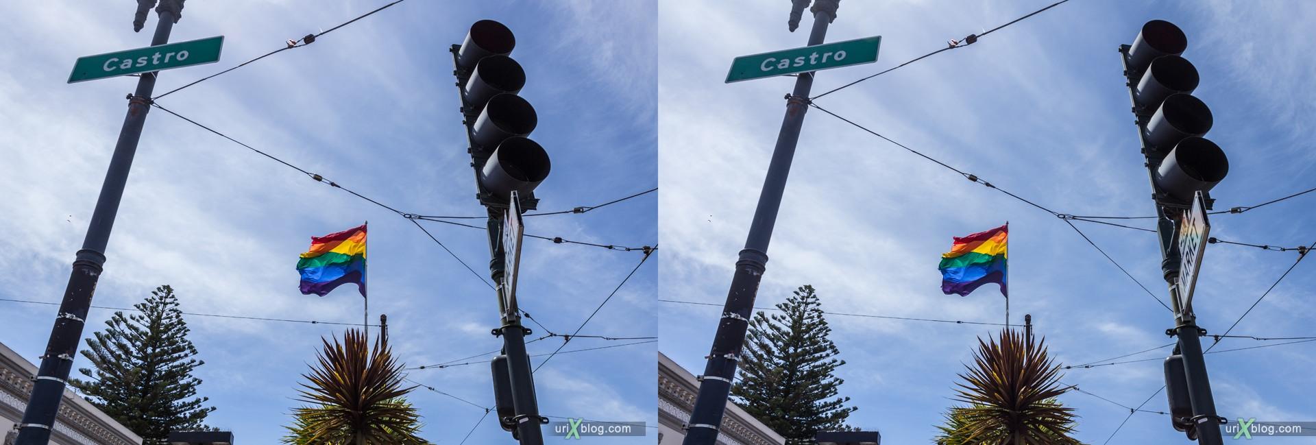 2013, Castro rainbow flag, Сан-Франциско, США, 3D, перекрёстные стереопары, стерео, стереопара, стереопары