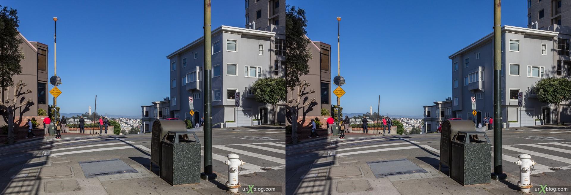 2013, США, Калифорния, Сан Франциско, улица Ломбард, Русский холм, 3D, перекрёстная стереопара, стерео, стереопара