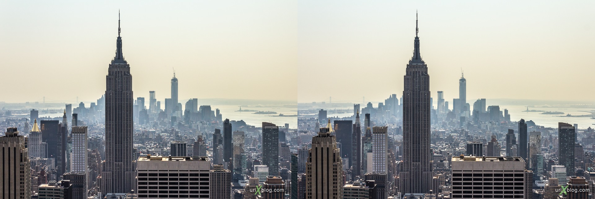 2013, NYC, New York, Lower Manhattan, Empire State Building, Top of the Rock Observation Deck, Rockefeller Canter, view from the top, city, building, skyscraper, panorama, 3D, stereo pair, cross-eyed, crossview, cross view stereo pair, stereoscopic