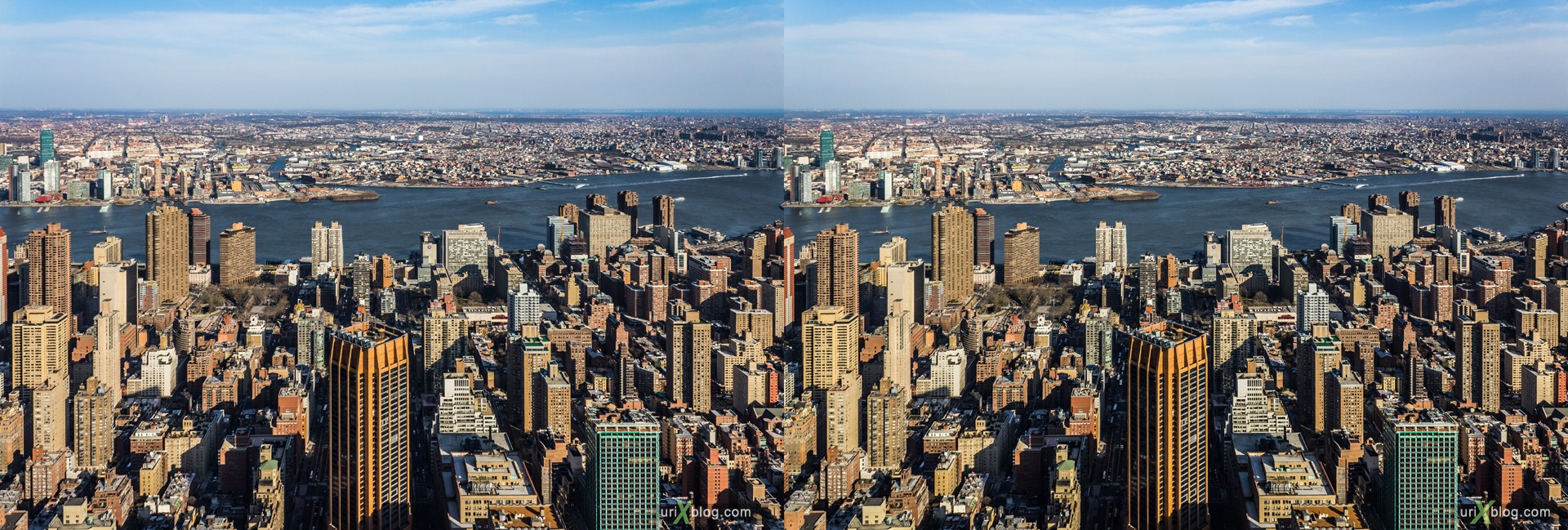2013, NYC, New York, Manhattan, East River, Empire State Building, view from the top, city, building, skyscraper, panorama, 3D, stereo pair, cross-eyed, crossview, cross view stereo pair, stereoscopic
