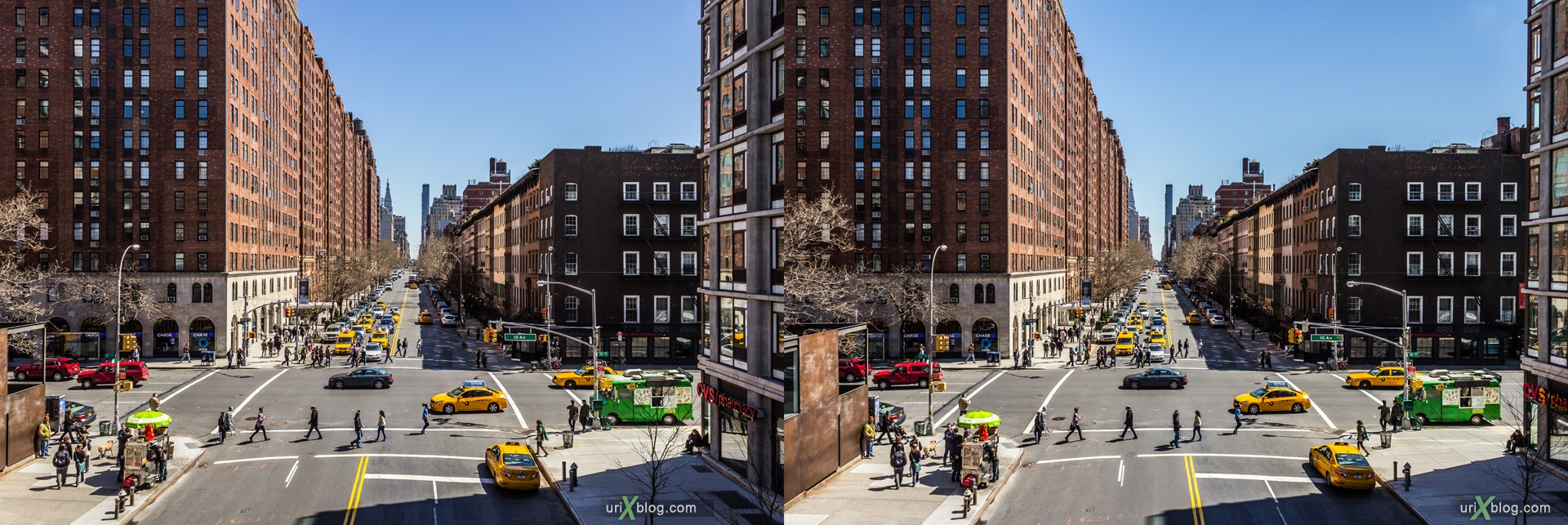 2013, NYC, New York, Manhattan, W 23rd Street, High Line, view from the top, city, building, skyscraper, panorama, 3D, stereo pair, cross-eyed, crossview, cross view stereo pair, stereoscopic