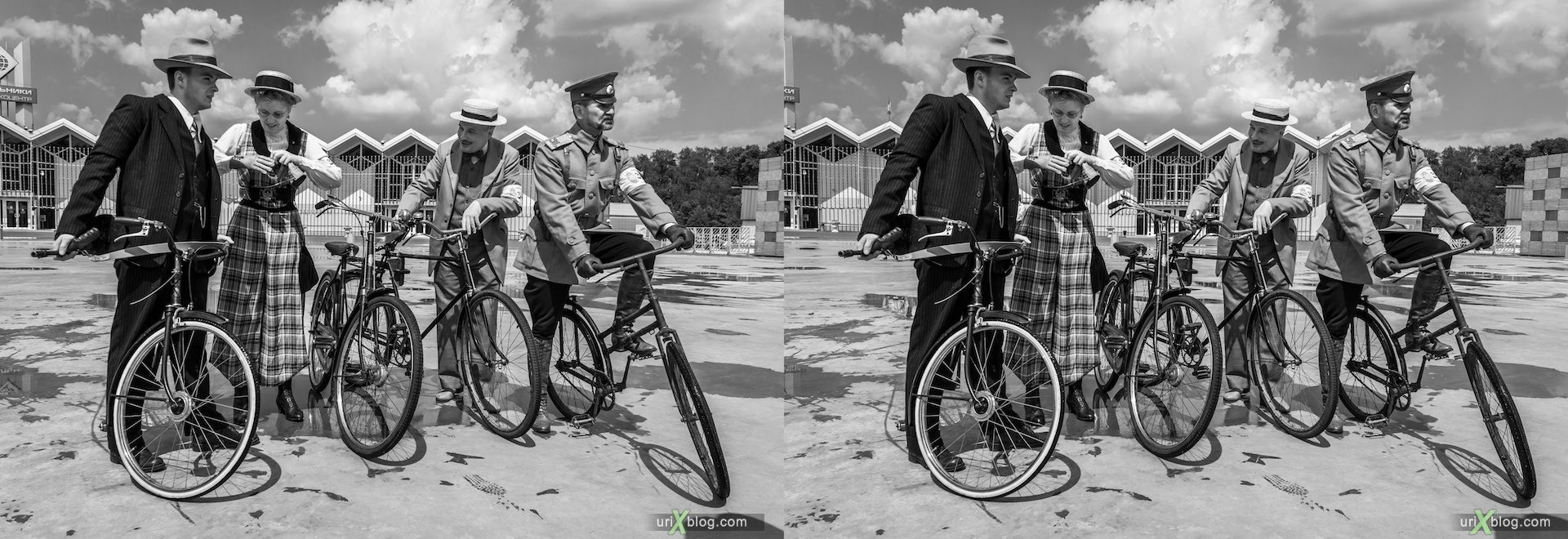 2013, old, ancient, bikes, bicycles, exhibition, rally, Moscow, Russia, 3D, stereo pair, cross-eyed, crossview, cross view stereo pair, stereoscopic