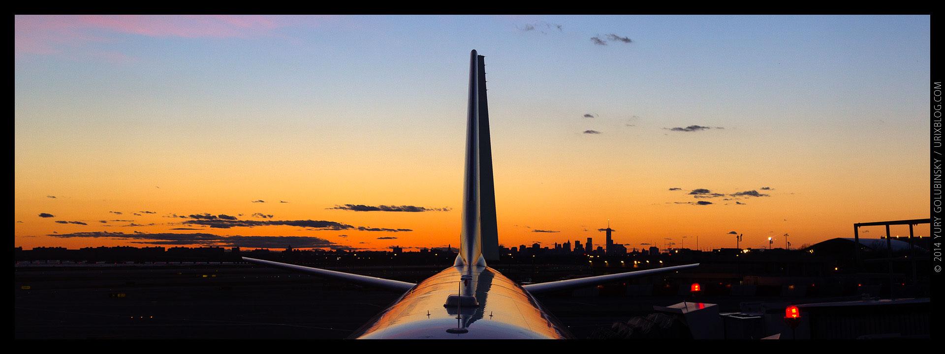 sunset, airplane, reflection, sky, Manhattan, New York, NYC, JFK, USA, airport, 2014, panorama, horizon, city