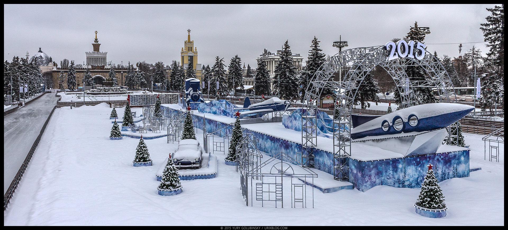 Ледяной каток, ВДХН, парк, лёд, снег, зима, советский стиль, ракета, архитектура, Москва, Россия, январь, панорама, 2015