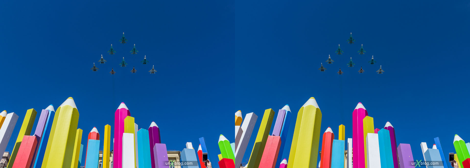 парад, самолёты, авиапарад, репетиция, пролёт, Пушкинская площадь, карандаши, Москва, Россия, 3D, перекрёстная стереопара, стерео, стереопара, 2015