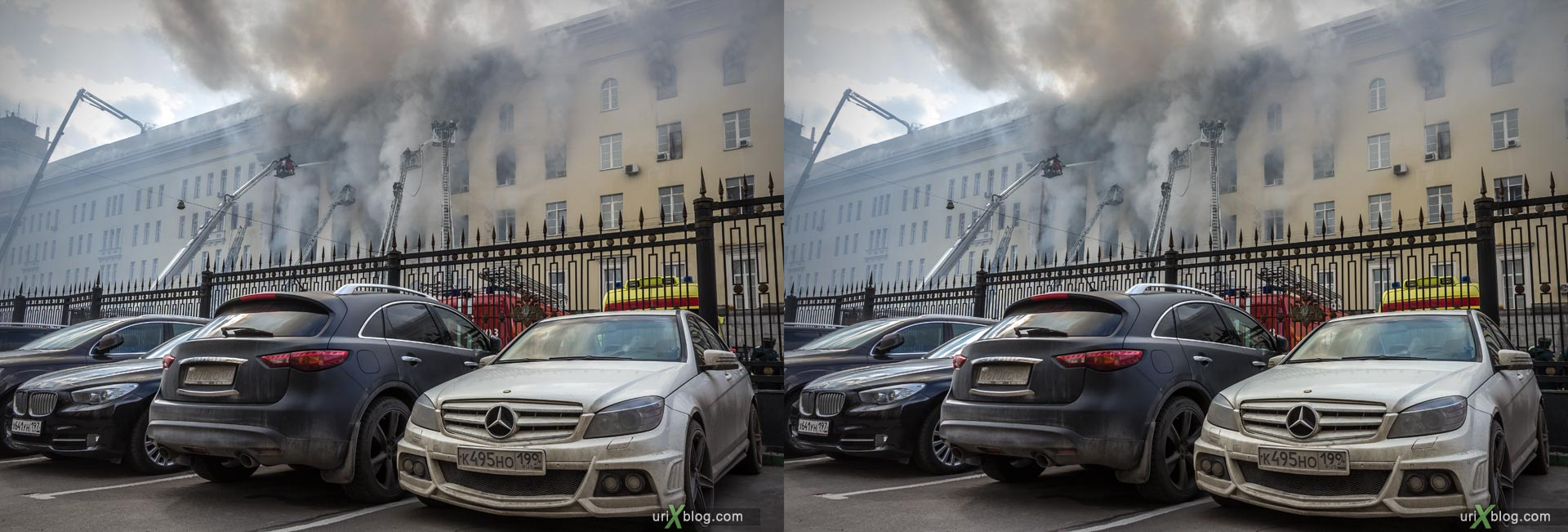 fire, smoke, accident, Ministry of Defense building, Bolshoy Znamensky Lane, Moscow, Russia, city, 3D, stereo pair, cross-eyed, crossview, cross view stereo pair, stereoscopic, 2016