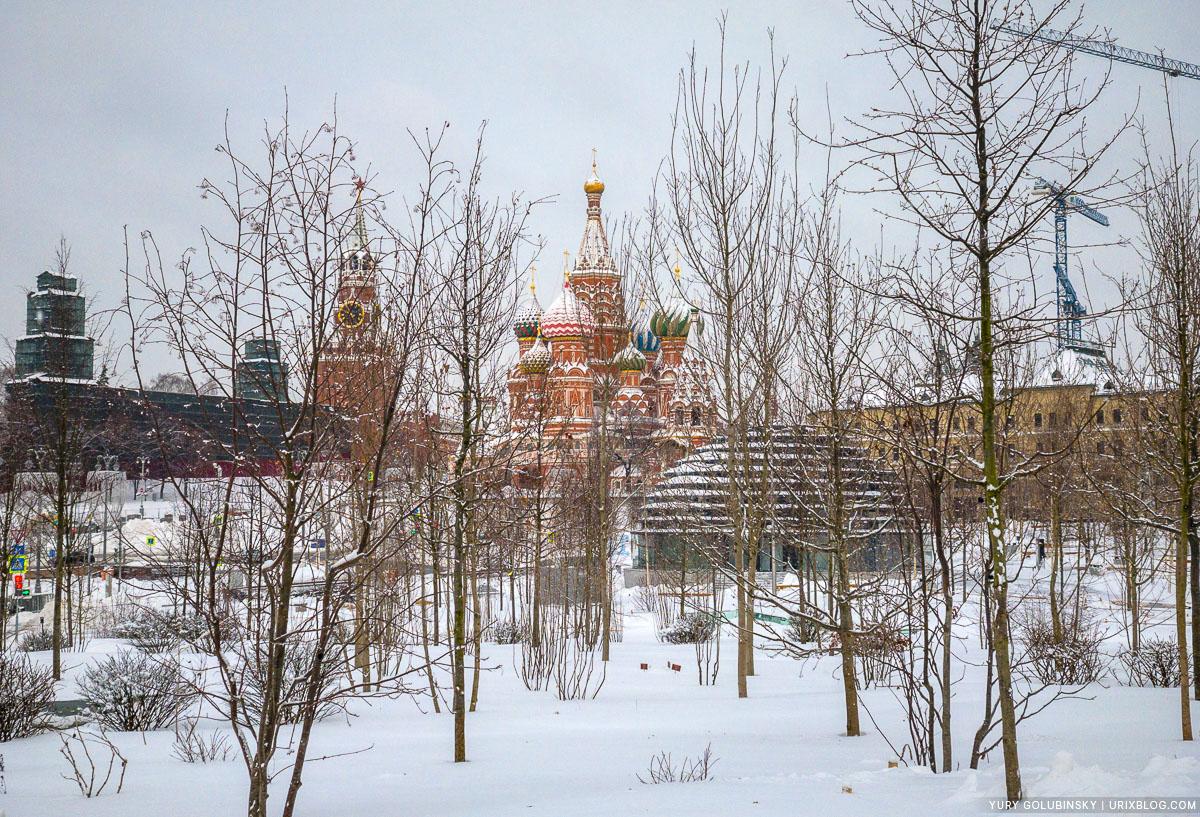 парк Зарядье, Москва, Россия, 2018, зима, снег, утро, безлюдно
