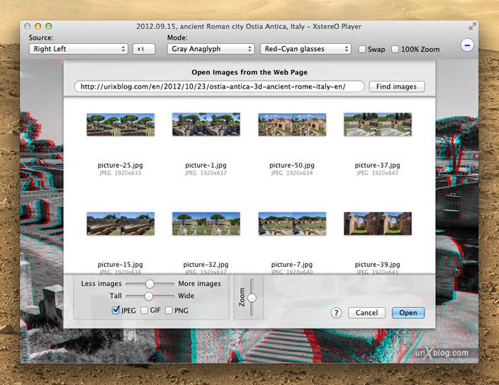 XstereO Player, screenshot, Mac OS X, 3D, stereo